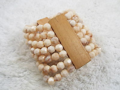 Wood & Cream Bead Bracelet (A17)