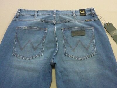 068 Mens Ex-Cond Wrangler Stix Str8 Fit Stretch Denim Jeans Sze 34 $150 Rrp.