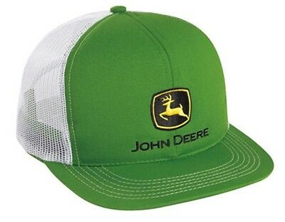 JOHN DEERE *GREEN & WHITE MESH BACK* Traditional Flatbill HAT CAP *BRAND NEW*