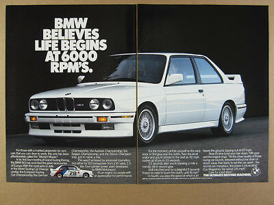 1988 Bmw E30 M3 White Car Color Photo Vintage Print Ad