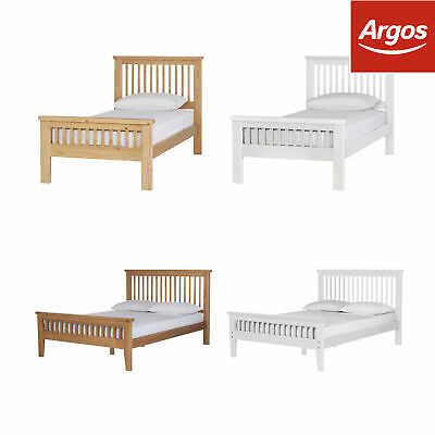Argos Home Aubrey Wooden Bed Frame - Single / Double / Kingsize - Oak / White