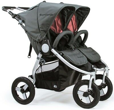 Bumbleride Indie Twin All Terrain Twin Baby Double Stroller Dawn Grey Coral 2018
