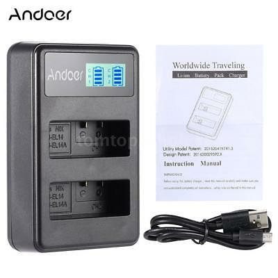 Andoer EN-EL14 EN-EL14A Rechargeable Li-ion Battery Charger Pack for Nikon DSLR