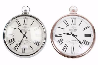 42cm Round Metallic Silver or Copper Pocket Watch Style Round Wall Hanging Clock