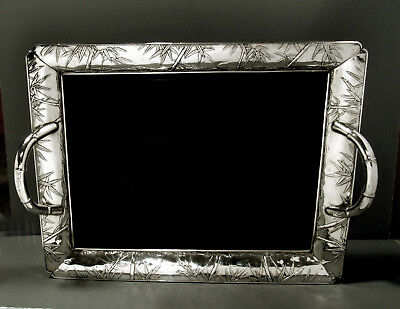 "Japanese Sterling Silver Tea Set Tray         ""MEIJI""       "" HAND DECORATED """