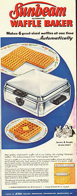 1940 vintage Ad, Sunbeam Waffle Maker, 4 at a time!   -022814