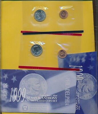 SUSAN B. ANTHONY - 1999 P & D SET WITH MEDALS SEALED BY MINT - #a