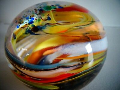 Signed WEDGEWOOD Art Glass ENGLAND SWIRL Frit ABSTRACT PAPERWEIGHT w/ Label