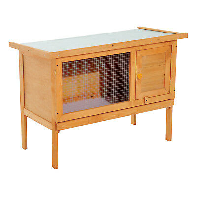 Rabbit Hutch Bunny Cage Elevated House Guinea Pig Sliding Tray Wood Outdoor