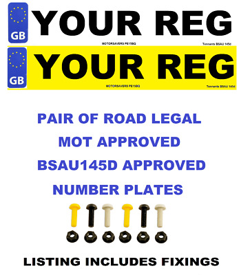 Car Number Plates - GB Euro Front & Rear - Road Legal Inc Fixing Nuts & Bolts
