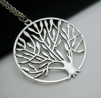 Free Tibetan Silver Hollow TREE OF LIFE Totem Charm Pendant chain Necklace Gift