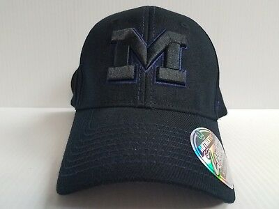 low priced 25180 4a6e9 Michigan Wolverines Cap Zephyr Stretch Fit Fitted Black Finisher Hat NCAA