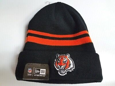 premium selection 96f56 12ffd Cincinnati Bengals New Era Knit Hat Striped Cuff Beanie Stocking Cap NFL