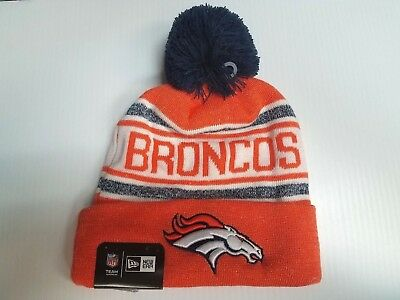 quality design 825b5 909a9 Denver Broncos New Era Knit Hat Toasty Cover Pom Beanie Stocking Cap NFL