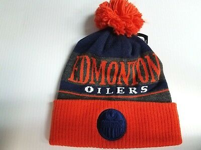 74c0efeb268 Edmonton Oilers Adidas Knit Hat Heathered Block Beanie Pom Stocking Cap NHL