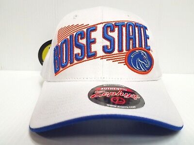 various colors 3eefd 4ce69 Boise State Broncos Cap Zephyr Adjustable Snapback Crossover White Hat NCAA