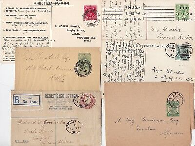 # 1904/36 6 HULL POSTAL HISTORY COVERS PPCs REGd MACHINE CDS THUNDERSTORM CENSUS