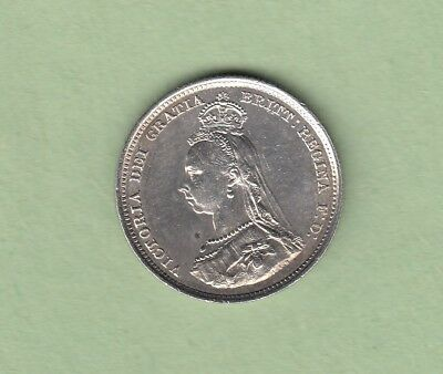 1887 Great Britain One Shilling Silver Coin - Queen Victoria -  EF