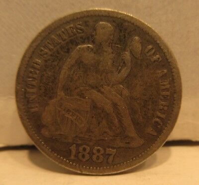 1887 Seated Liberty Dime United States 10 Cents Coin