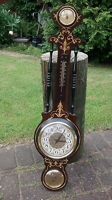 Vintage Banjo Style Italian Clock Barometer with Thermometer + Hygrometer