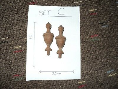(SET C) PAIR HARDWOOD TURNED FINIALS - CLOCKS / BAROMETERS / DRESSERS 55mm x 25m