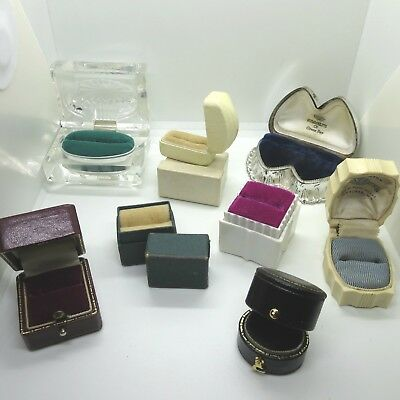 Lot of 8 Vintage Single and Double Ring Boxes Unisex Different Styles Designs