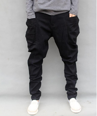 Mens loose fit spring pants Hip hop night club pure color Harem trousers stylish