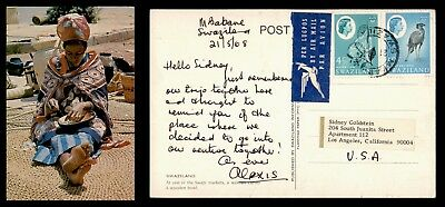 1968 Swaziland Postcard To Usa Air Mail
