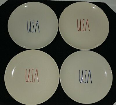 "Rae Dunn L/L ""USA"" Appetizer Plates 4th Of July Brand New.!HTF! Rare"