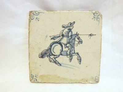 Antique 17th Century Delft Tile Horse and Rider with Ox Head Corner Motif