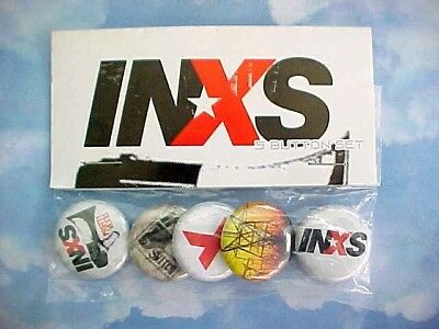 Vintage 1990's Set of 5 INXS - Pinback Button Pins / Still Sealed in Package