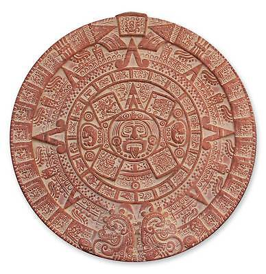 Ceramic Wall Plaque Calendar Replica 'Burning Aztec Sun Stone' NOVICA Mexico