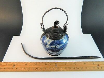 Antique Chinese Blue White Porcelain Metal Mounted Opium Jar 追龙; Burner 19th C