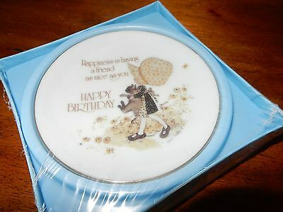 "Holly Hobbie 4"" Plate  Happiness is having a friend .....Happy Birthday ""Sealed"