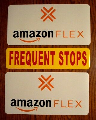 2 AMAZON FLEX  6X12 & 1 FREQUENT STOPS 3X12 100% Magnetic CAR VEHICLE SIGNS   y