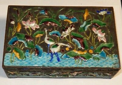 Old Cloisonne Repousse Enamel Chinese Pelican Design Humidor Jar Box
