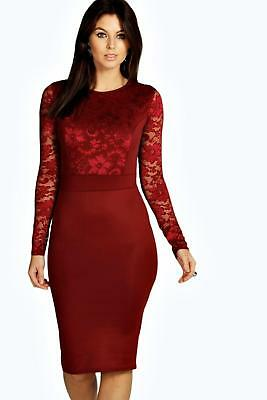 37e6e5d6be20 BOOHOO WOMENS LACE Long Sleeve Bodycon Midi Dress in Berry size 4 ...