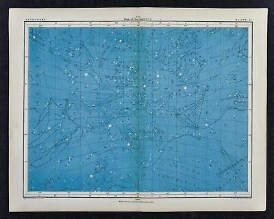 1855 Johnston Astronomy Star Map 3 North Constellations Leo Libra Corvus Hydra