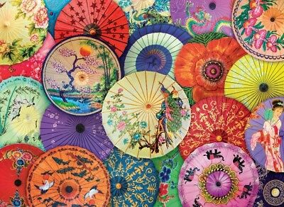 Jigsaw Puzzle Ethnic Japanese Oil Paper Umbrellas 1000 pieces NEW Made in USA