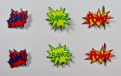 BRADS SUPERHERO WORDS pk of 6 split pin craft scrapbooking super heroes