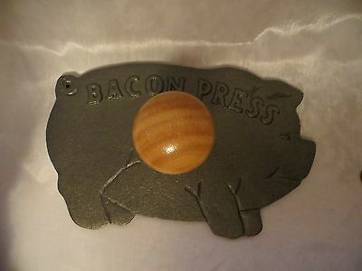 Norpro Cast Iron Pig Shaped Bacon Press With Wood Handle Never Used In Box