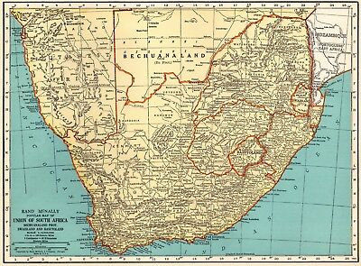 1935 Vintage SOUTH AFRICA MAP Original Map of South Africa Gallery Wall Art 5248