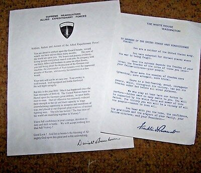 Ww2 Letters To Soldiers, Roosevelt & Eisenhower, U.s. Issue *copy*