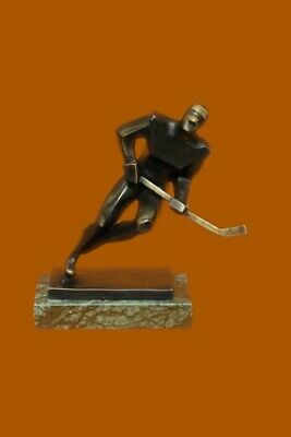 Passing Hockey Player Solid Bronze Statue Green Marble Base Nick Hotcast Art NR