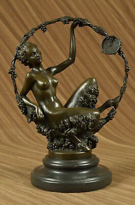 Satyr W/ Nude Nymph Bronze Sculpture Marble Base Figure Lost Wax Method Artwork