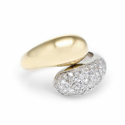 1ct Pave Diamond Bypass Ring Vintage 18k Yellow White Gold Estate Fine Jewelry