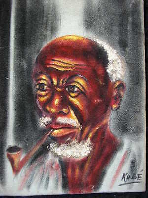 "OIL SIGN.""KABE"" AFRICAN MAN*AFRICAN ART*1950/60s*RARE ORIGINAL OIL PAINTING"