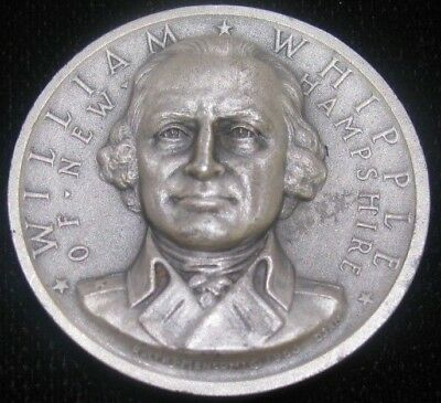 1963 Medallic Art Co NY .999 Pure Silver William Whipple of NH Medal 25.7 grams