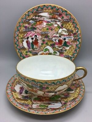 Meiji (1868-1912) period Japanese Dai Nippon Cup, Saucer & Side Plate trio