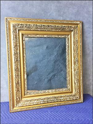 Victorian WALL MIRROR wood antique vintage wooden picture gold gesso ornate 20s
